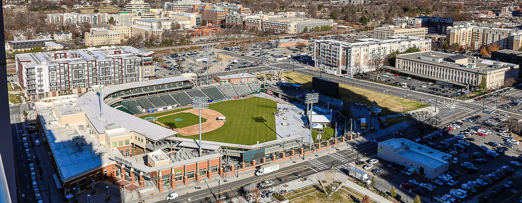 downtown views of Charlotte, NC and baseball stadium