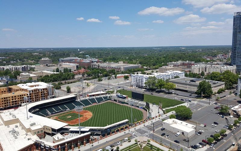 aerial view of nearby baseball stadium